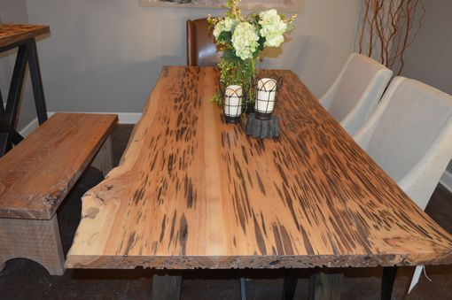 Custom Made Rough Edge And Oak Dining Table