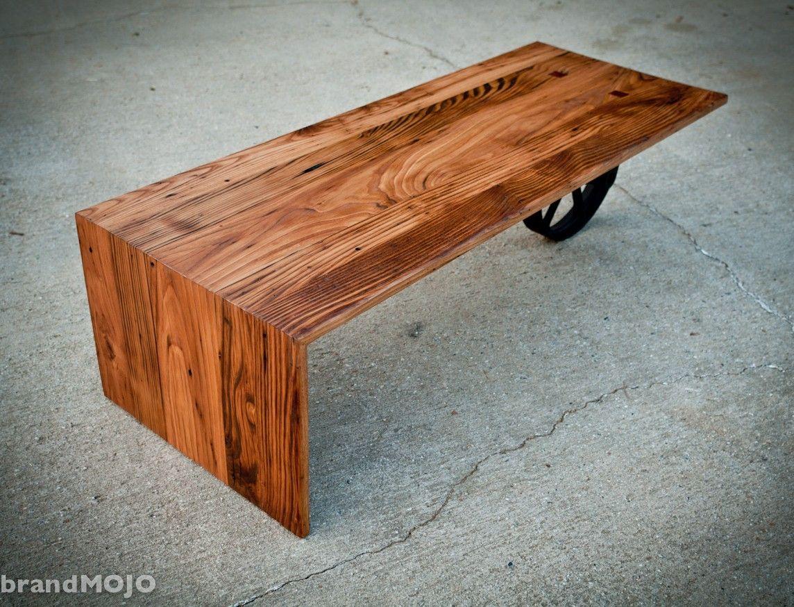 custom made wheeled waterfall coffee table by brandmojo. Black Bedroom Furniture Sets. Home Design Ideas