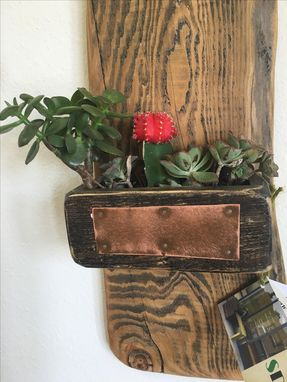 Custom Made Handcrafted Wood And Copper Hanging Planter