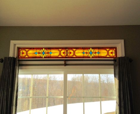 Custom Made Stained Glass Set Of Transoms - Victorian Ribbons & Flowers Ii (Tw-65)