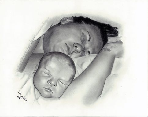 Custom Made Portrait Drawing Of Mother And Son