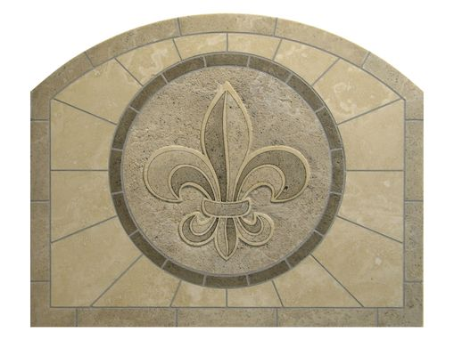 Custom Made Fleur De Lis Travertine Backsplash Tile