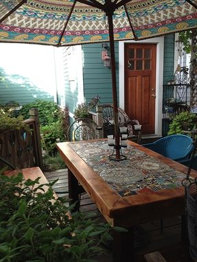 Custom Made Reclaimed Lumber Inlaid Mosaic Outdoor Patio Table