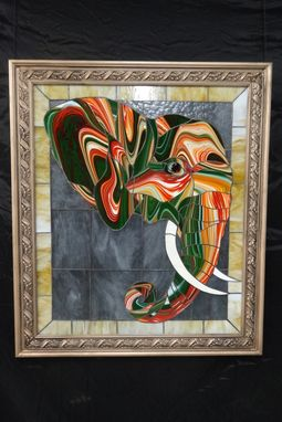 Custom Made Stained Glass Picture Of Magic Elephant