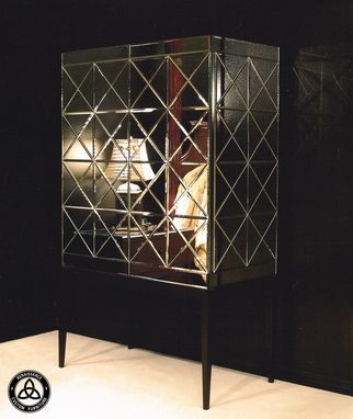 Custom Made #1013 Beveled Mirror Cabinet On Stand