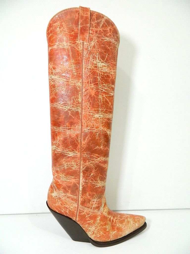 08d25579bd9 Custom Saddle Tan Crack Leather Cowboy Boots 22¨ Tall Men Size by ...