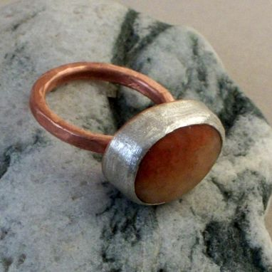 Custom Made Beach Rock On Copper And Sterling Silver Ring