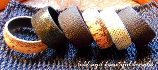 Custom Made Leather And Exotic Skin Bangle Bracelets