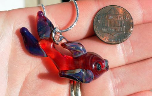 Custom Made Sterling Silver Necklace With Purple And Red Glass Fish Pendant