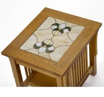 Custom Made Spindle Side Table With Stained Glass Top