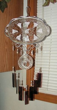Custom Made Vintage Snack Plate And Matching Cup Wind Chime