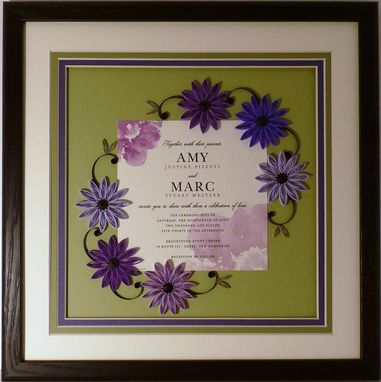 Custom Made Wedding Invitation Quilled Keepsake Framed Wall Art Custom