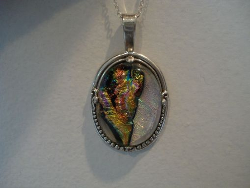 Custom Made Dichroic Glass Pendant , Sterling Silver
