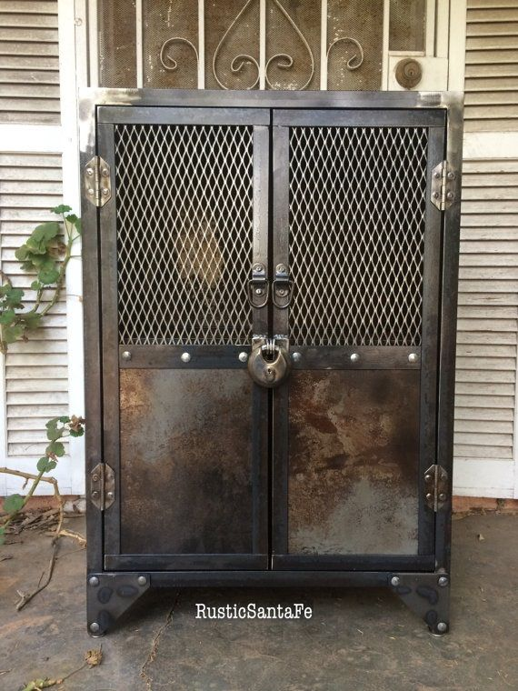 Buy a Hand Crafted Industrial Steel Locking Liquor Cabinet ...