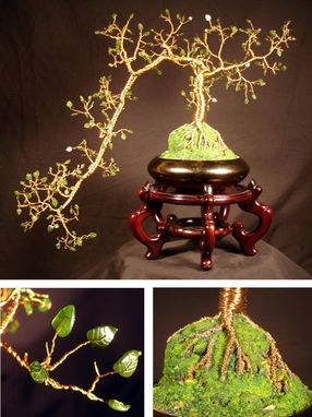 Custom Made Jade Cascade  #1 - Wire Tree Sculpture