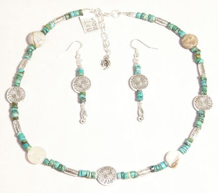 Custom Made Turquoise, Agate Necklace And Earring Set