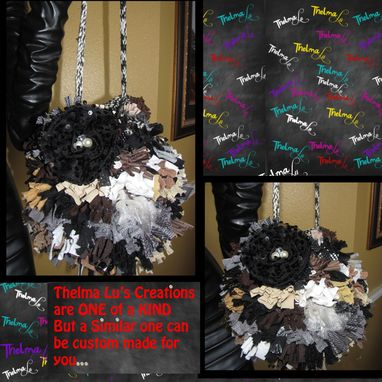 Custom Made Round Fringe Purse,Flower,Rhinestone,Beads,Custom Made,One Of A Kind, Hippie,Boho,Funky,Handbag,Tote