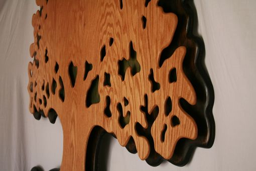 Custom Made Extra Large Oak Wood Tree Of Life Hanging Sculpture