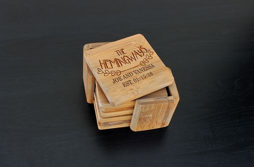 Custom Made Custom Bamboo Coasters, Custom Engraved Coasters --Cst-Bam-Hemingway