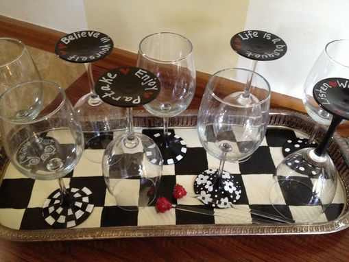Custom Made Hand Painted Black And White Inspirational Glassware