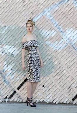 "Custom Made Leaf-Printed Off-Shoulder Dress ""Breakfast At Tiffany'S"""