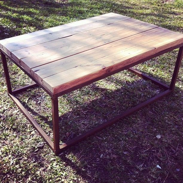 Industrial Unique Metal Designer Coffee Table: Hand Made Metal Base Reclaimed Wood Top Coffee Table By