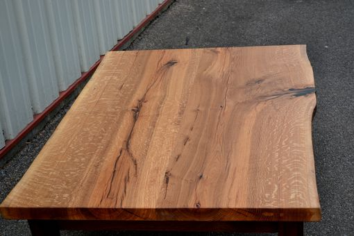 Custom Made Live Edge White Oak Coffee Table With Curved Walnut  Legs