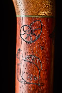 Custom Made Handmade Sea Life Walking Cane In Mahogany, Blue Dyed Maple, And Padauk