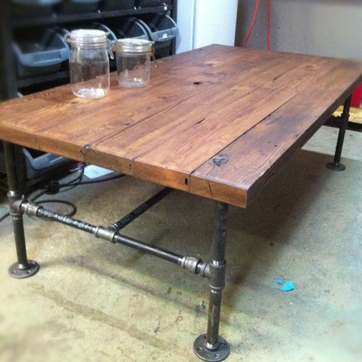 Custom Made Barn Wood Cast Iron Pipe Coffee Table By JampS