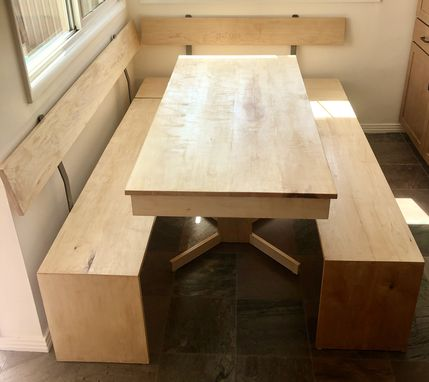 Custom Made Hardwood Dining Table And Benches Set