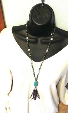 Custom Made Long Layering African Turquoise Tassel Necklace