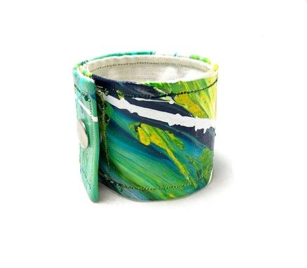 Custom Made Hemp Wrist Band - Aqua Green Cuff - Small Cuff - Hand Painted And Sewn On Natural Hemp Fiber