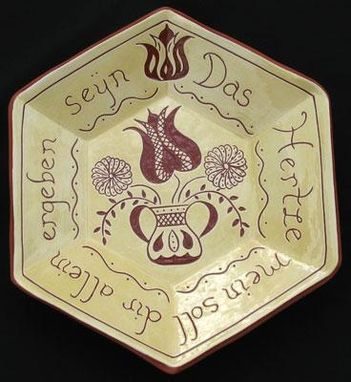 Custom Made Ceramic Plate With Writing And Flower In Urn