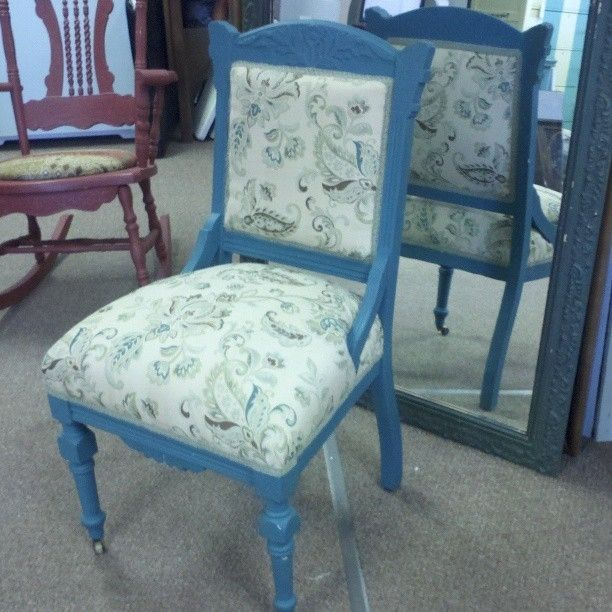 Hand made victorian eastlake chair upholstered for Reupholstered chairs for sale