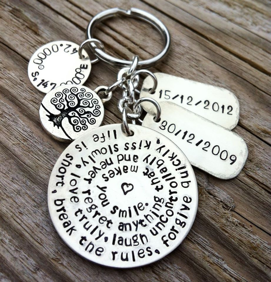 Hand Made Hand Stamped Key Chain Wedding Gift Bride And Groom ...