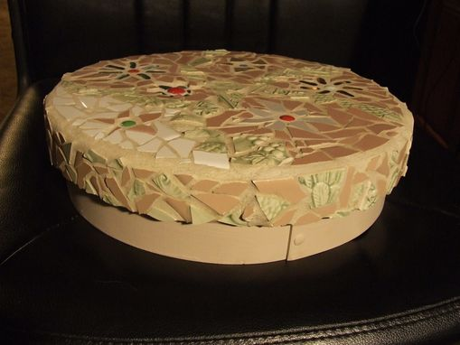 Custom Made Mosaic Round Flower Keepsake Box