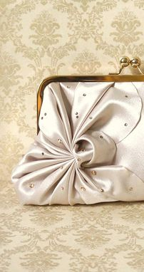 Custom Made Art Deco Bridal Clutch Purse With Flowers And Crystal Beads