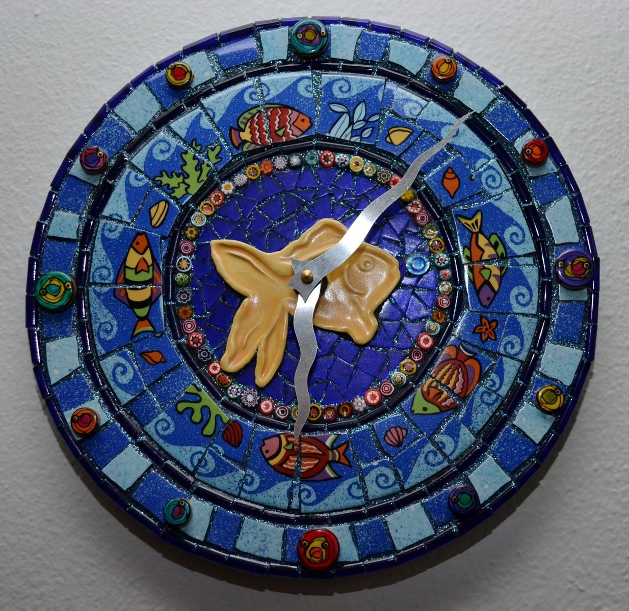 Mosaic Border Tiles >> Custom Under The Sea Mosaic Clock by Flutterfly Mosaics