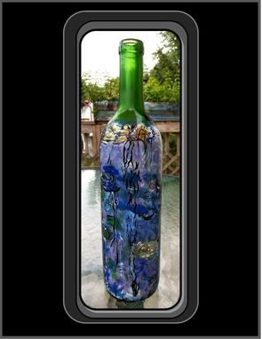 Custom Made Claude Monet, Water Lilies, Materpiece Wine Bottle, Wine Art, Kitchen Art, Art