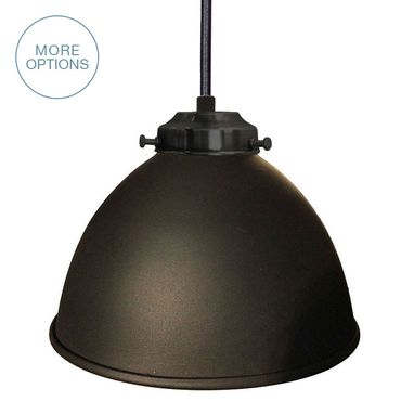 "Custom Made Dome 7"" Metal Shade Pendant Light- Black"