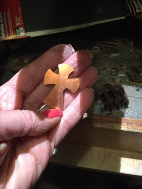 Custom Made Religious Pendant Cross In Copper And Sterling Silver