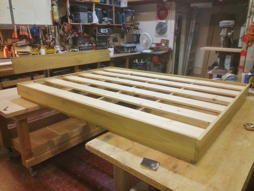Custom Made Low Platform Bed With Backboard