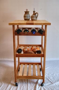 Custom Made Hard Maple And Cherry Rolling Kitchen Cart