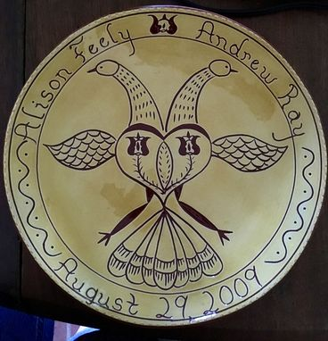 Custom Made Redware Wedding/Anniversary Double-Headed Distelfink Plate Decorated Using The Sgraffito Techinque