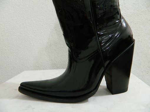 Custom Made Patent Leather Black Sharp Toe Cowboy Boots All Men Size Sstacked 5 Inch High Heel
