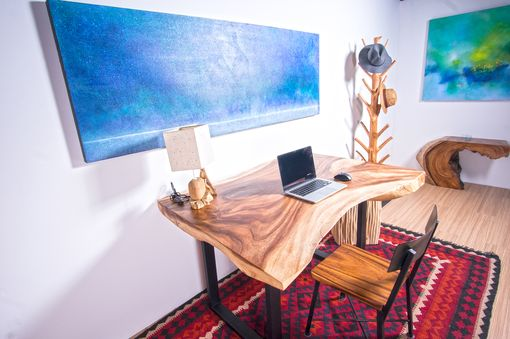 Custom Made Live Edge Thick Cut Wood Slab Table - Ideal For Office Desk / Square Dining Table