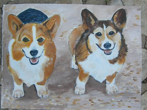Custom Made Custom Pet Portrait Of Corgis, Henry And Andrew