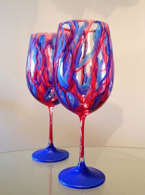Custom Made Red And Blue Abstract Swirl Design. Red Wine Glasses