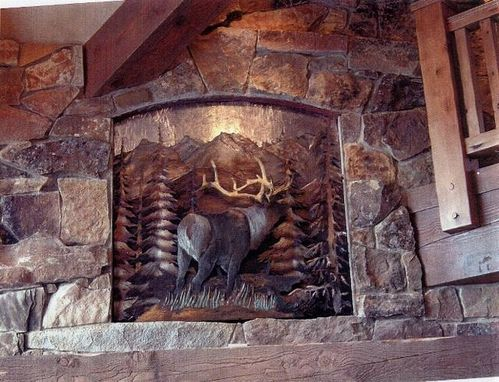 Custom Made Elk And Mountain Scene Relief, Fabricated Metal Sculpture