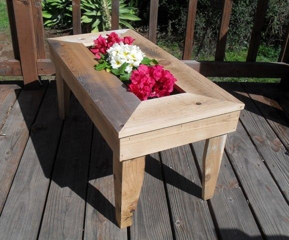 Custom Made Handmade Patio Table With Built In Planter